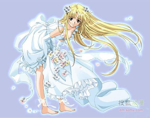 动漫美少女大秀新娘装晚礼服
