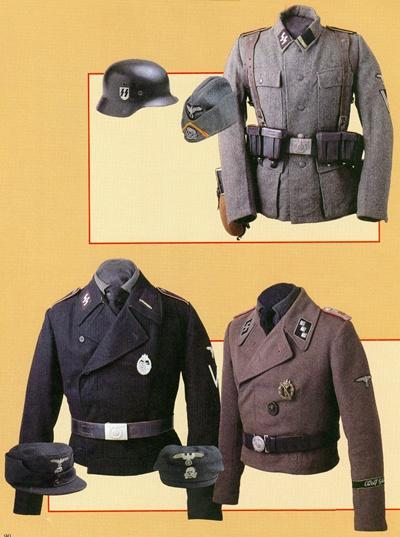 右边武装党卫队上衣肩章上的白杠表示这是步兵一名下士的制服.1936图片