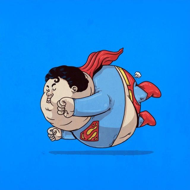 """美国画家阿历克斯·索利斯(alex solis)绘制的一组经典卡通人物""""吃胖""""图片"""