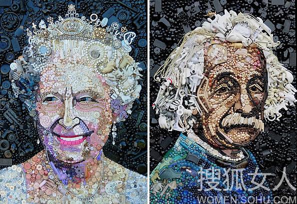 玩具纽扣珠子首饰 打造回收艺术 如图我们看到的画作图片