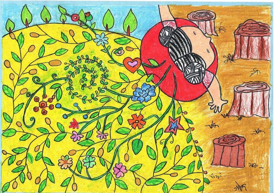 儿童画画呼吁植树 赶走雾霾天
