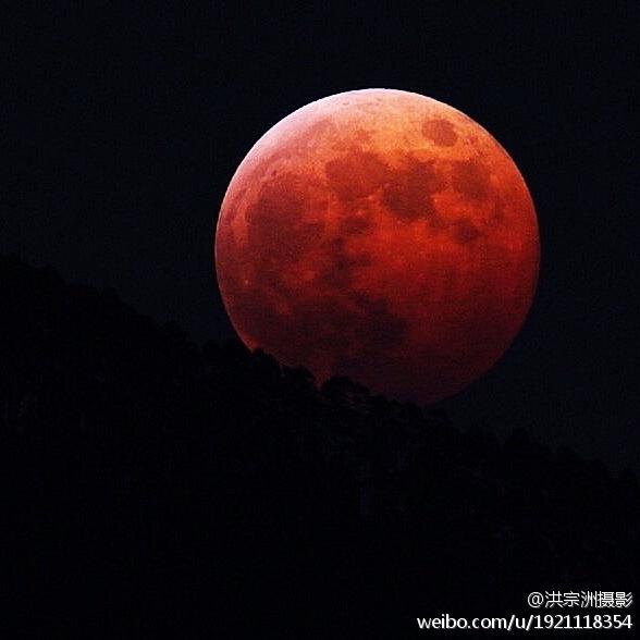 """[智凯转载]昨晚月全食来袭 中国民众争睹""""血色月亮"""" - 畅之 - 智凯书屋"""