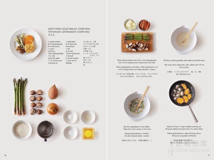 Mo Takemura是日本人,在瑞士Lund University硕士毕业设计,做了一本向瑞士人介绍如何在瑞士用当地食材做日本料理的书 Guide to Foreign Japanese Kitchen 。书中垂直俯瞰的摄影,和清新雅致的版式设计,让这本食谱散发出不一样的生活之美。