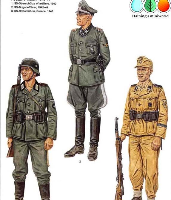 F:警察师,1940年-44年 F1:党卫队炮兵组长,1940年 师属炮兵的这名上等兵展现了西线战役时期一名警察师的士兵的典型形象。他穿标准路军版M1936式上衣,上面配警察的粗竖杠领章和带炮兵红色镶边的肩章。党卫队的老鹰加卍字徽章更多的是佩戴在袖子上而不是胸前,这样一眼就可以将他和陆军士兵相区分。警察用头盔贴花在这一时期也往往代替了党卫队的贴花。 F2:党卫队旅队长,1942年-44年 这名将官不同寻常地在身上混合了各种不同的徽章。他的将官用制式军便帽上带有黑色天鹅绒帽墙和机织铝质滚边,领章和肩章都是