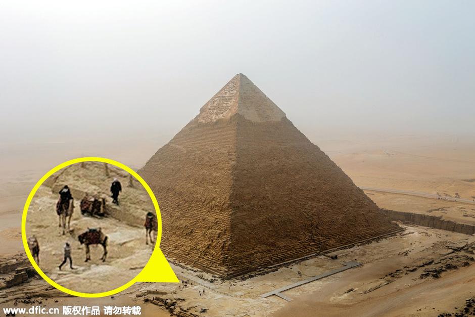ej在金字塔顶拍照
