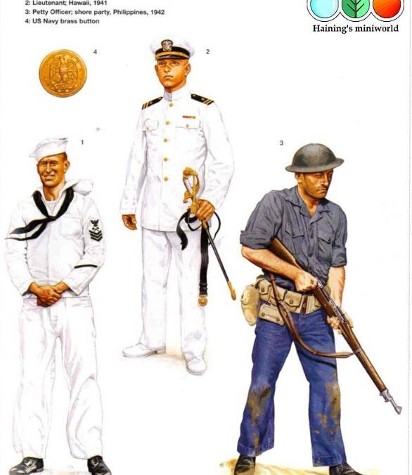A1:一级舰艇技师,夏威夷,1941年末 和大多数1941年末的水手一样,这名海军一级士官的夏季白色制服上不再带有深蓝色的领子和袖口;交叉的斧子上方加了面朝前的老鹰图案的新的专业等级章也特别佩戴在左臂上以代表他的甲板之下工作的岗位;一条代表4年服役期的黑条装饰位于左袖子上。白色的裤子相比那些宽松的水手裤仅仅是显得苗条些。穿着自己最干净整洁制服的他脖子上围水手黑色领巾,这是他正在某次仪式上或是走出基地的象征;在穿着普通的夏季工作服时,黑色领巾就要收起。作为一名机械师,他几乎完全要与木头打交道,即便这是一艘