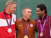 北京时间7月31日,在2012年伦敦奥运会男子双向飞碟决赛在皇家炮团军营进行,美国选手文森特-汉考克...