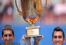 高清:米尔尼/特卡乌高举奖杯 意大利组合亚军