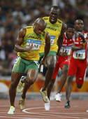 8月22日,牙买加队在北京奥运会男子4X100米接力决赛中以37秒10的成绩夺得金牌并打破世界纪录。新华社/摄