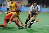 8月23日,在北京奥运会男子曲棍球决赛中,德国队以1比0战胜西班牙队,获得冠军。 新华社/摄
