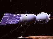 这是神舟七号载人飞船在太空遨游的模拟图,摄于北京航空飞行控制中心。